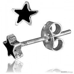Tiny Sterling Silver Black Enamel Star Stud Earrings, 3/16 in(4.5 mm)