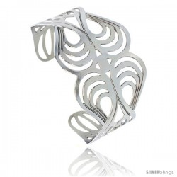 Stainless Steel Cuff Bangle Bracelet Swirl Pattern Cut-out 1 3/4 in wide, size 7.5 in