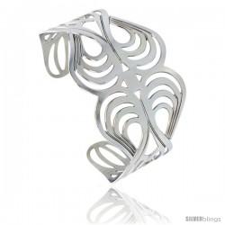 Stainless Steel Cuff Bangle Bracelet Swirl Pattern Cut-out 1 3/4 in wide, size 7.5 in