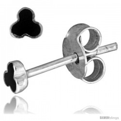 Tiny Sterling Silver Black Enamel Stud Earrings, 1/8 in(3 mm) -Style Es219