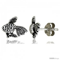 Tiny Sterling Silver Fish Stud Earrings 5/16 in -Style Es22