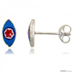 Small Sterling Silver Blue Enamel Eye Stud Earrings, 11/32 in(9 mm) wide -Style Es221