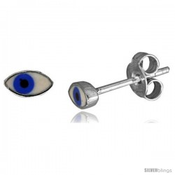 Small Sterling Silver Enamel Eye Stud Earrings, 1/4 in(6 mm) wide