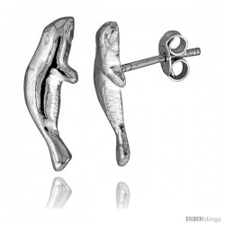 Tiny Sterling Silver Manatee Stud Earrings 3/4 in