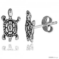 Tiny Sterling Silver Turtle Stud Earrings 7/16 in