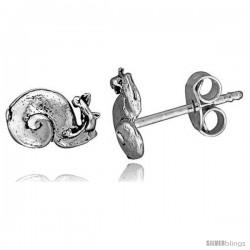 Tiny Sterling Silver Snail Stud Earrings 3/8 in