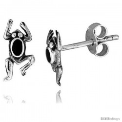 Tiny Sterling Silver Frog Stud Earrings 7/16 in