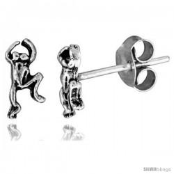 Tiny Sterling Silver Frog Stud Earrings 5/16 in