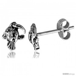 Tiny Sterling Silver Parrot Stud Earrings 5/16 in