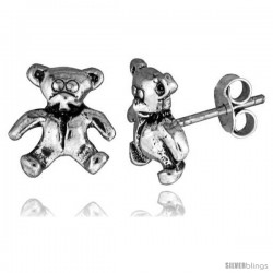 Tiny Sterling Silver Bear Stud Earrings 3/8 in -Style Es236