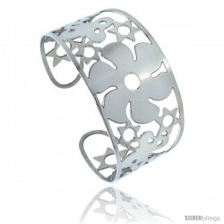 Stainless Steel Cuff Bangle Bracelet Stars Butterflies & Floral Cut-outs 1 3/4 in wide, size 7.5 in