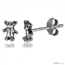 Tiny Sterling Silver Bear Stud Earrings