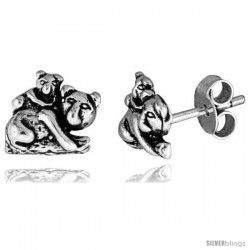 Tiny Sterling Silver Koala Bear Stud Earrings 3/8 in