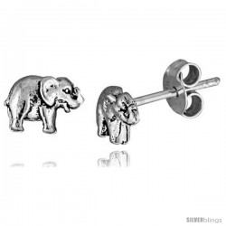 Tiny Sterling Silver Elephant Stud Earrings 5/16 in -Style Es239
