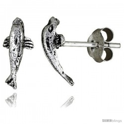 Tiny Sterling Silver Dolphin Stud Earrings 1/2 in -Style Es24