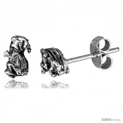 Tiny Sterling Silver Dog Stud Earrings 5/16 in