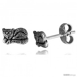 Tiny Sterling Silver Cat Stud Earrings 5/16 in -Style Es245