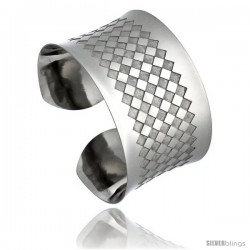 Stainless Steel Cuff Bangle Bracelet Laser Etched Checkerboard Pattern 1 1/2 in wide, size 7.5 in