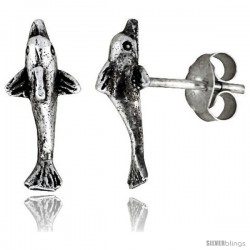 Tiny Sterling Silver Dolphin Stud Earrings 7/16 in