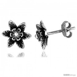 Tiny Sterling Silver Flower Stud Earrings 3/8 in