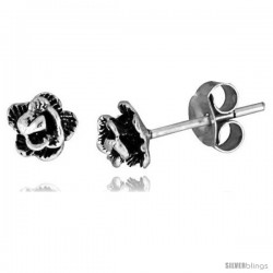 Tiny Sterling Silver Flower Stud Earrings -Style Es253
