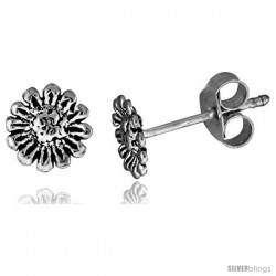 Tiny Sterling Silver Flower Stud Earrings 5/16 in -Style Es254