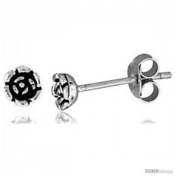 Tiny Sterling Silver Flower Stud Earrings 3/16 in