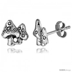 Tiny Sterling Silver Mushroom Stud Earrings 3/8 in