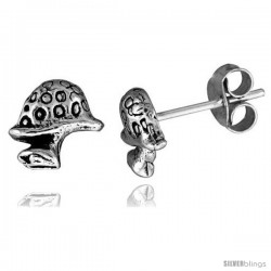 Tiny Sterling Silver Mushroom Stud Earrings 5/16 in