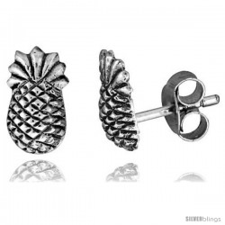 Tiny Sterling Silver Pineapple Stud Earrings 3/8 in