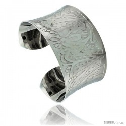 Stainless Steel Cuff Bangle Bracelet Concaved Laser Etched Floral Pattern 1 1/2 in wide, size 7.5 in