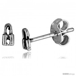 Tiny Sterling Silver Padlock Stud Earrings 1/4 in