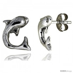 Tiny Sterling Silver Dolphin Stud Earrings 3/8 in -Style Es27