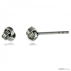 Tiny Sterling Silver Knot Stud Earrings 3/16 in