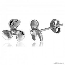 Tiny Sterling Silver Fan Stud Earrings 3/8 in