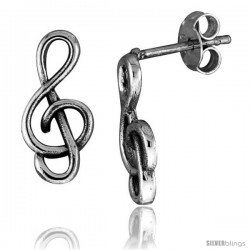 Tiny Sterling Silver G-Clef Stud Earrings 5/8 in