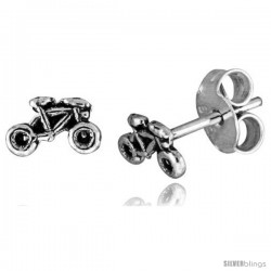 Tiny Sterling Silver MOTORCYCLE Stud Earrings 5/16 in