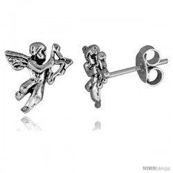 Tiny Sterling Silver Cupid Stud Earrings 7/16 in
