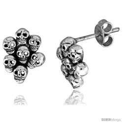 Tiny Sterling Silver Skull Stud Earrings 7/16 in