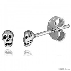 Tiny Sterling Silver Skull Stud Earrings 3/16 in