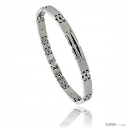 Stainless Steel Solid Link Bracelet over 1/4 in wide, 8 1/2 in long