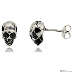 Sterling Silver Fractured Skull Stud Earrings 3/8 intall