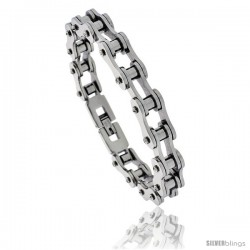Stainless Steel Solid Link Bicycle Chain Bracelet 7/16 in wide