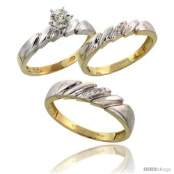 10k Yellow Gold Diamond Trio Wedding Ring Set His 5mm & Hers 4mm