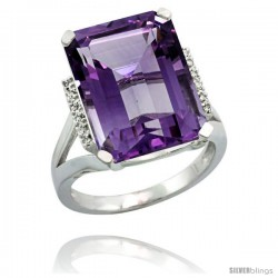 Sterling Silver Diamond Amethyst Ring 12 ct Natural Emerald Cut 16x12 stone 3/4 in wide