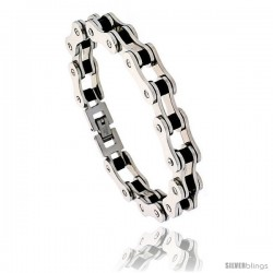 Stainless Steel Solid Link & Rubber Bicycle Chain Bracelet 1/2 in wide