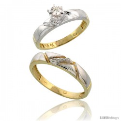 10k Yellow Gold 2-Piece Diamond wedding Engagement Ring Set for Him & Her, 4mm & 4.5mm wide