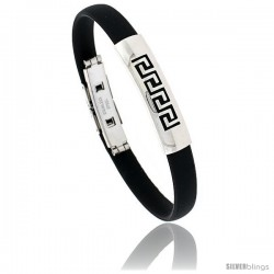Stainless Steel & Rubber Greek Key Bangle Bracelet 3/8 in wide