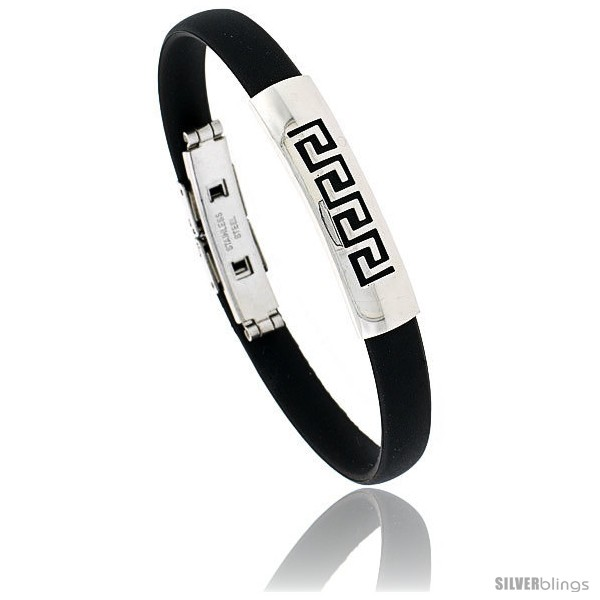 https://www.silverblings.com/1382-thickbox_default/stainless-steel-rubber-greek-key-bangle-bracelet-3-8-in-wide.jpg