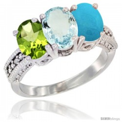 14K White Gold Natural Peridot, Aquamarine & Turquoise Ring 3-Stone 7x5 mm Oval Diamond Accent